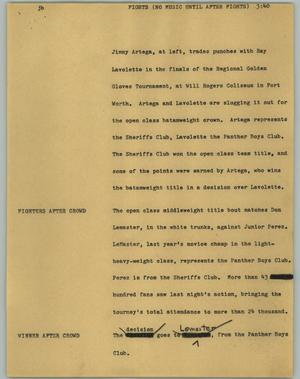 Primary view of object titled '[News Script: Fights (no music until after fights)]'.