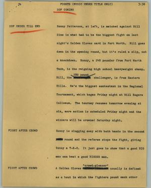 Primary view of object titled '[News Script: Fights (music under title only)]'.