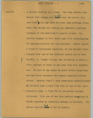 Primary view of object titled '[News Script: Bomb shelters]'.