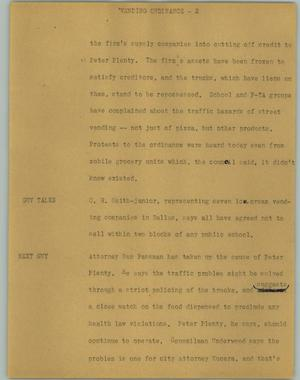 Primary view of object titled '[News Script: Vending ordinance]'.