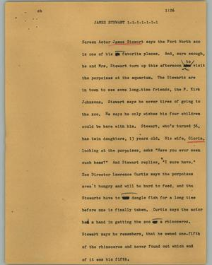 Primary view of object titled '[News Script: James Stewart]'.