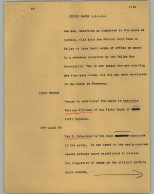 Primary view of object titled '[News Script: Judges sworn]'.