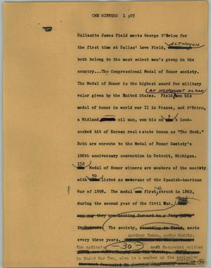 Primary view of object titled '[News Script: CMH winners]'.