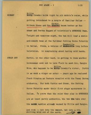 Primary view of object titled '[News Script: Doc Adams]'.