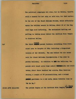 Primary view of object titled '[News Script: Balloons]'.