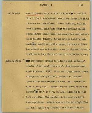 Primary view of object titled '[News Script: Marcus]'.
