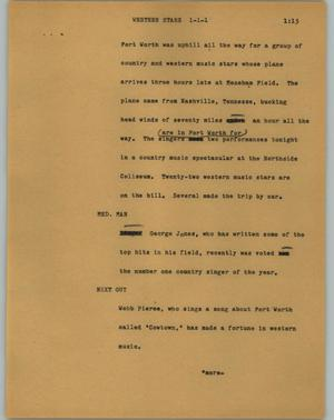 Primary view of object titled '[News Script: Western stars]'.