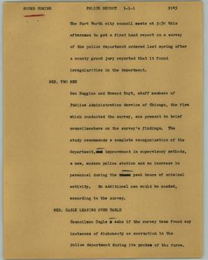 Primary view of object titled '[News Script: Police report]'.