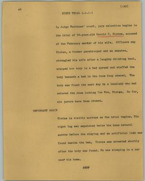 Primary view of object titled '[News Script: Hintz trial]'.