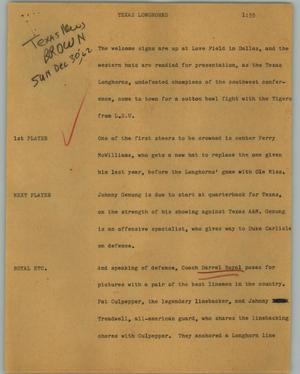 Primary view of object titled '[News Script: Texas Longhorns]'.