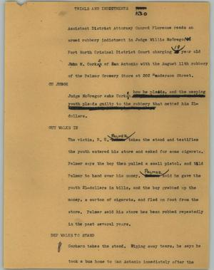 Primary view of object titled '[News Script: Trials or indictments]'.