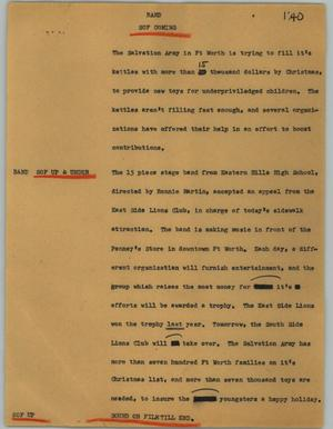 Primary view of object titled '[News Script: Band]'.