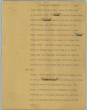 Primary view of object titled '[News Script: Pioneer Days breakfast]'.