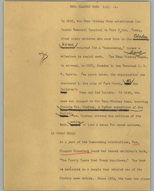 Primary view of object titled '[News Script: Edna Gladney Home]'.
