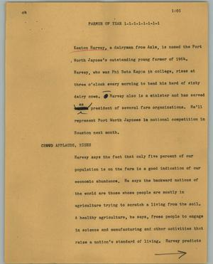 Primary view of object titled '[News Script: Farmer of year]'.