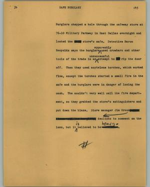 Primary view of object titled '[News Script: Safe burglary]'.