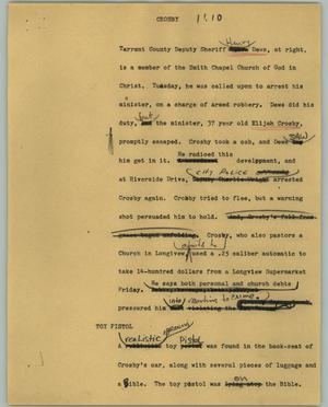Primary view of object titled '[News Script: Crosby]'.