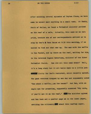 Primary view of object titled '[News Script: On the house]'.
