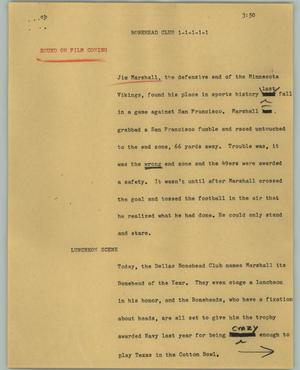 Primary view of object titled '[News Script: Bonehead club]'.