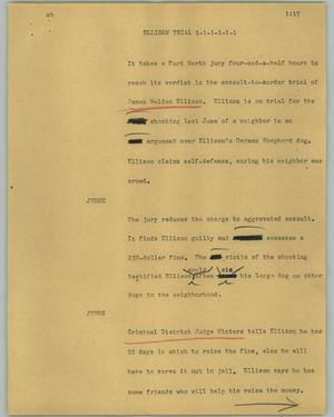 Primary view of object titled '[News Script: Ellison trial]'.