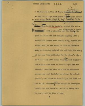 Primary view of object titled '[News Script: Robber loses round]'.