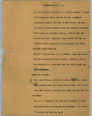 Primary view of object titled '[News Script: Murder-Suicide]'.