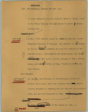Primary view of object titled '[News Script: Hungarian speaker]'.
