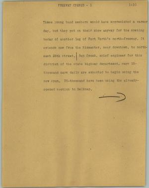 Primary view of object titled '[News Script: Freeway opened]'.