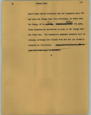 Primary view of object titled '[News Script: Orange Bowl]'.