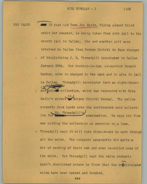 Primary view of object titled '[News Script: Girl burglar]'.