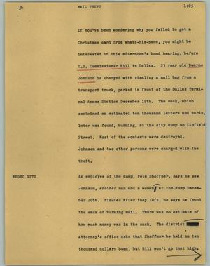 Primary view of object titled '[News Script: Mail theft]'.