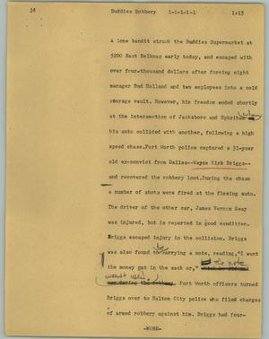 Primary view of object titled '[News Script: Buddies robbery]'.