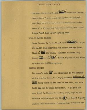 Primary view of object titled '[News Script: Investigation]'.