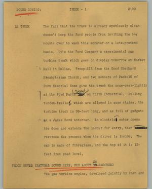 Primary view of object titled '[News Script: Truck]'.