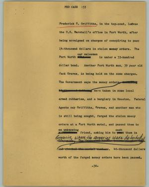 Primary view of object titled '[News Script: Fed case]'.