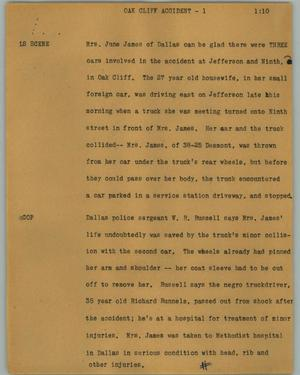 Primary view of object titled '[News Script: Oak Cliff accident]'.