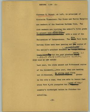 Primary view of object titled '[News Script: Sertoma]'.