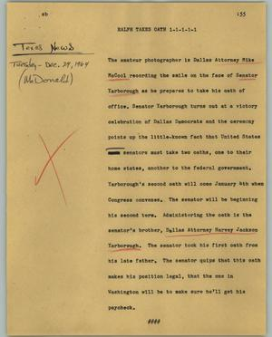 Primary view of object titled '[News Script: Ralph takes oath]'.
