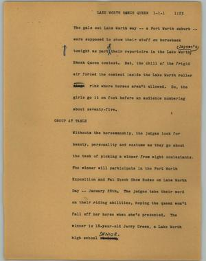 Primary view of object titled '[News Script: Lake Worth Ranch Queen]'.