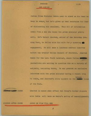 Primary view of object titled '[News Script: Sherrod]'.