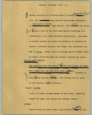 Primary view of object titled '[News Script: Foreign visitors]'.