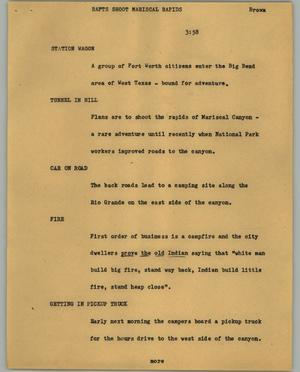 Primary view of object titled '[News Script: Rafts shoot Mariscal Rapids]'.