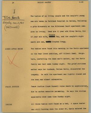 Primary view of object titled '[News Script: Dallas deaths]'.