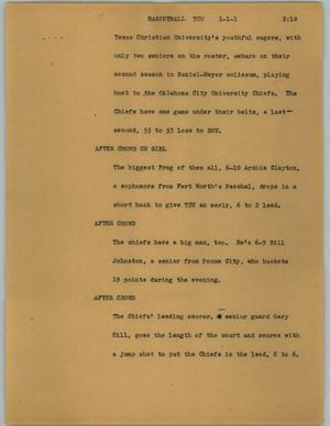 Primary view of object titled '[News Script: Basketball TCU]'.