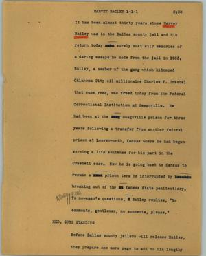 Primary view of object titled '[News Script: Harvey Bailey]'.