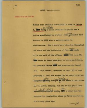 Primary view of object titled '[News Script: Masks]'.