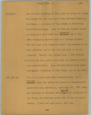 Primary view of object titled '[News Script: Trade show]'.