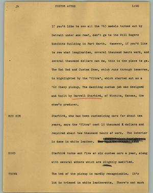 Primary view of object titled '[News Script: Custom autos]'.