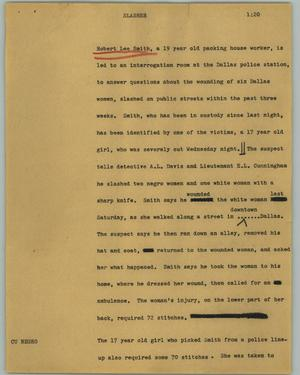 Primary view of object titled '[News Script: Slasher]'.