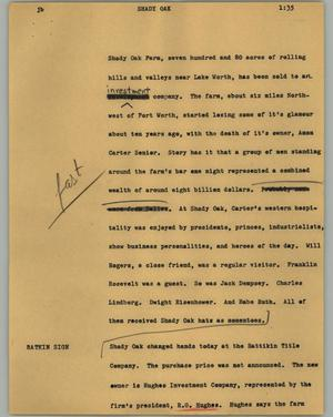 Primary view of object titled '[News Script: Shady Oak]'.